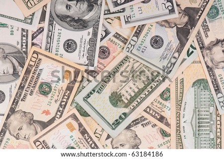 Money background of $5-$100 banknotes - stock photo
