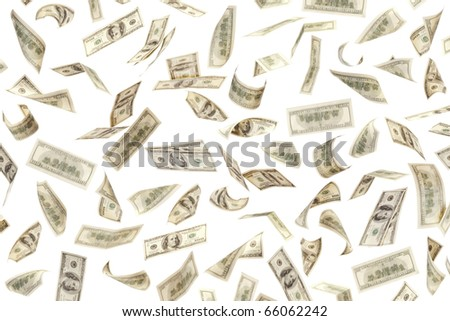 Money background of $100 banknotes on white - stock photo
