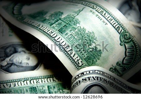 Money background of one hundred dollars $100 bills in US currency - stock photo