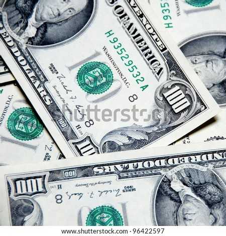 Money background of one hundred dollars - $100 bills in US currency