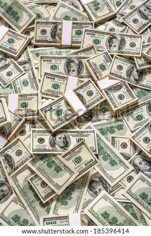 Money background / studio photography of American moneys of hundred dollar  - stock photo
