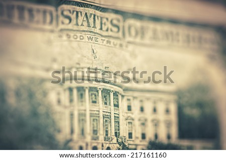 Money background - US dollars background, reto style toned photo with shallow DOF - stock photo