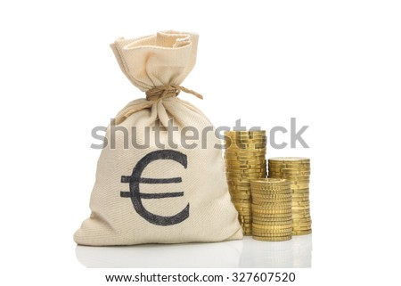 Money bag and Euro coins pile, isolated on white - stock photo