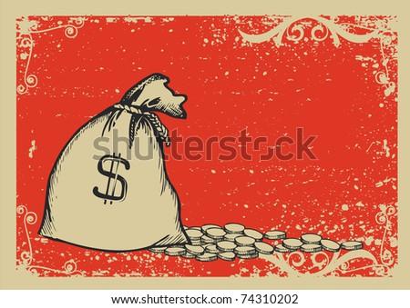 Money bag.Graphic image with grunge background.Raster - stock photo