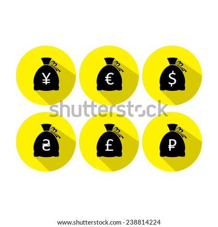 Money bag icon set with currency symbol flat design - stock photo