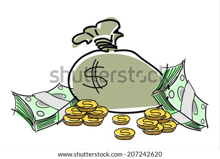 money bag icon with dollars and stacks of coins.