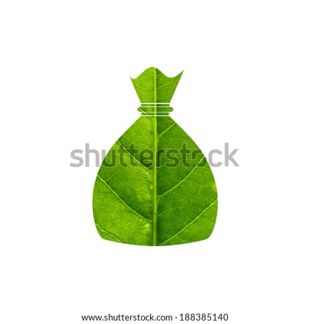 Money bag made of green leaf isolated on white background - stock photo