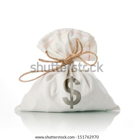 Money Bag on white background - stock photo