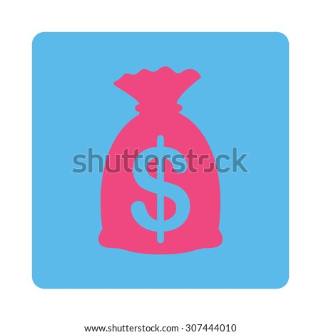 Money Bag raster icon. This flat rounded square button uses pink and blue colors and isolated on a white background. - stock photo
