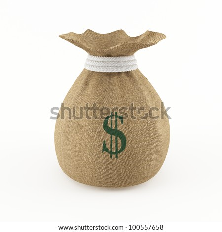 Money bag with a high resolution burlap texture and a green dollar sign