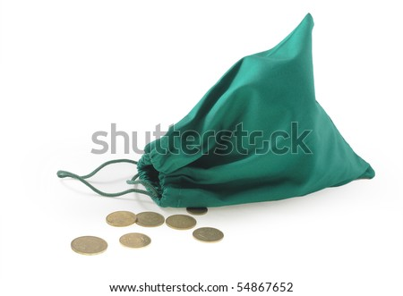 Money bag with  coins on a white background