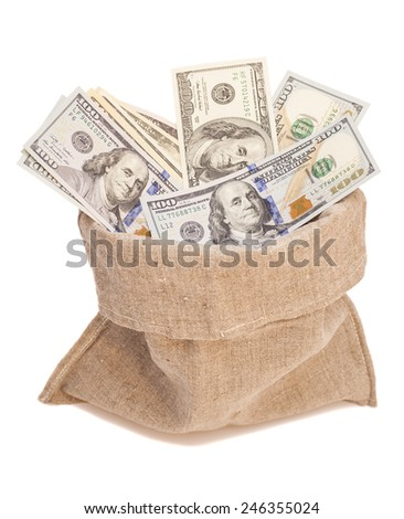 money bag with dollars  - stock photo