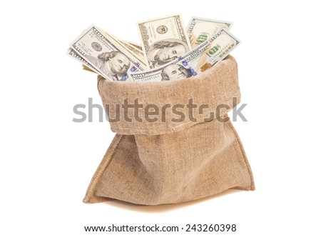 Money bag with dollars isolated on white - stock photo