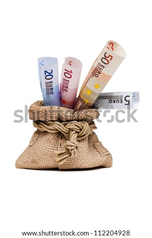 Money bag with euro, a gift isolated on white background - stock photo