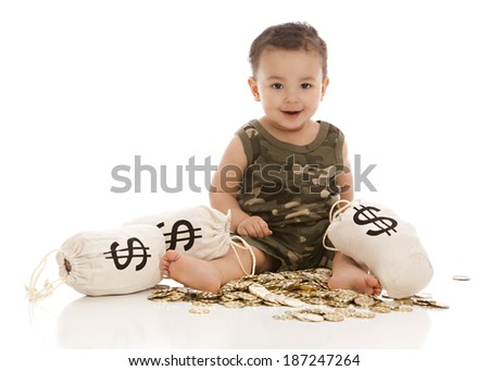 Money Bags.  An adorable baby boy sitting on a pile of gold coins with money bags.  Isolated on white with room for your text.