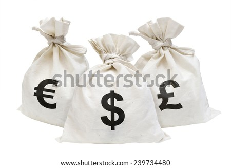 Money Bags on the wood table. - stock photo