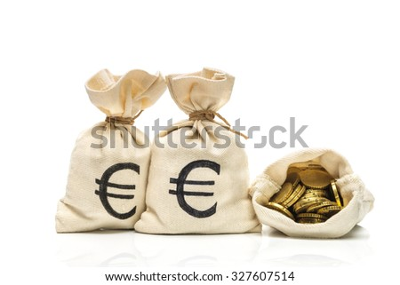 Money bags with Euro coins, isolated on white - stock photo
