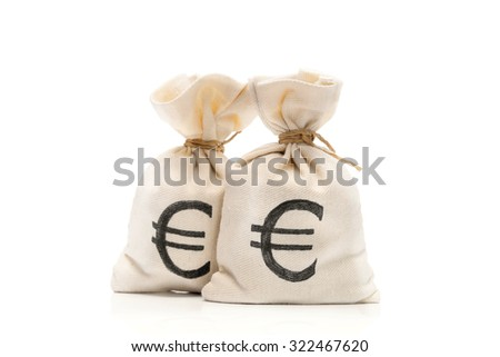 Money bags with Euro sign, isolated on white background