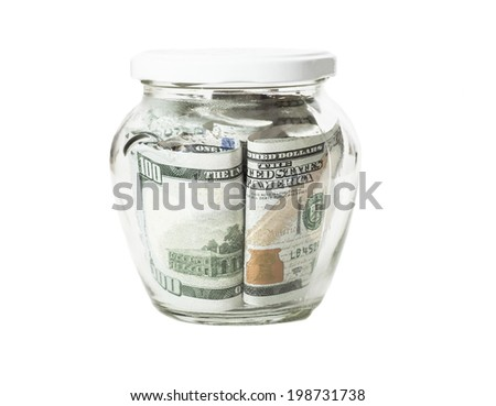 Money banknotes jar full of savings isolated on white background