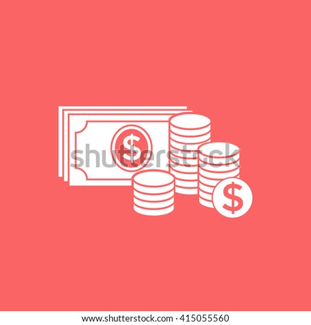 Money banknotes stack and Stack of coins icon with dollar symbol. - stock photo