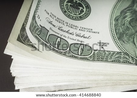Money banknotes stack macro view, money pile close-up, money investment, loan, business marketing, american hundred dollar, Bundle of money, heap of a money banknotes, money macro image, One Hundred - stock photo