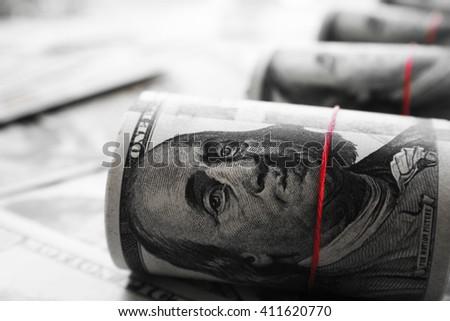 Money Black & White Stock Photo - stock photo