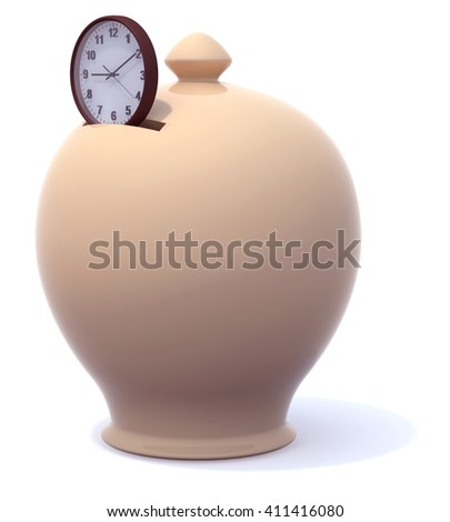 Money Box and clock. Save time concepts, 3d illustration - stock photo