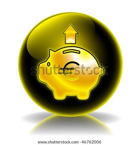 Money box expenditure glossy icon - stock photo