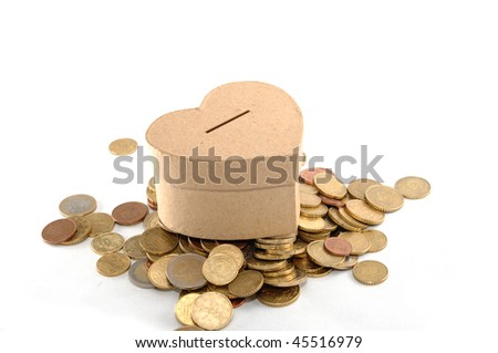 Money box, heart and much love - stock photo