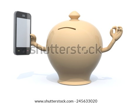 money box with arms and smartphone on hand, 3d illustration - stock photo