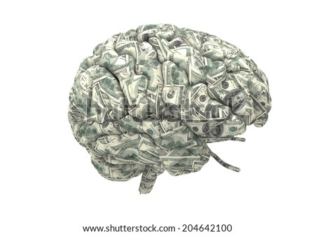 money brain isolated on white background with clipping path  - stock photo