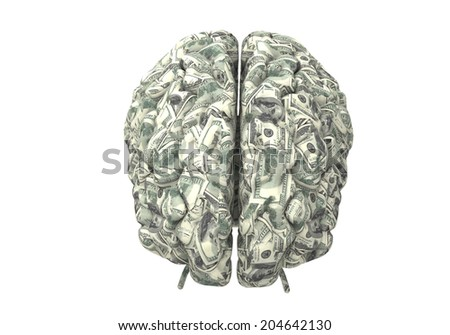 money brain isolated on white background with clipping path