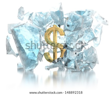 Money breaks the ice concept - stock photo