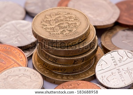 Money British pound sterling coins and paper  - stock photo