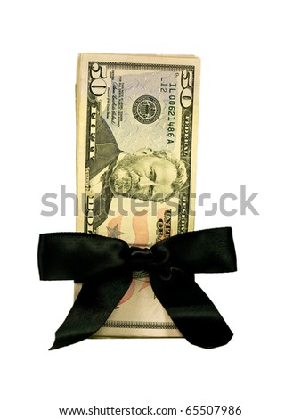 Money Bundle in a Black Ribbon $50 Bills - stock photo