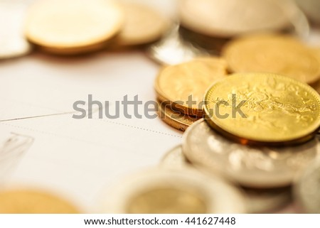 Money, Business diagram on financial report with coins. - stock photo
