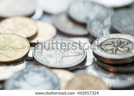 Money, Business diagram on financial report with coins
