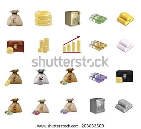 Money, business&wealth icon set - stock photo