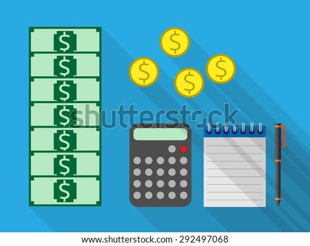 Money, calculator, notebook and pen lying on  desk. Counting of money, profit, accounting,  bookkeeping, finance, budget management  concept - stock photo