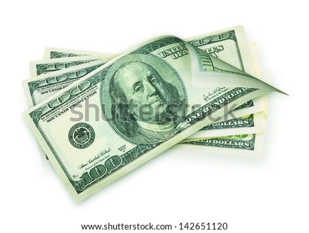 Money cash, american hundred dollar bills isolated on a white background - stock photo