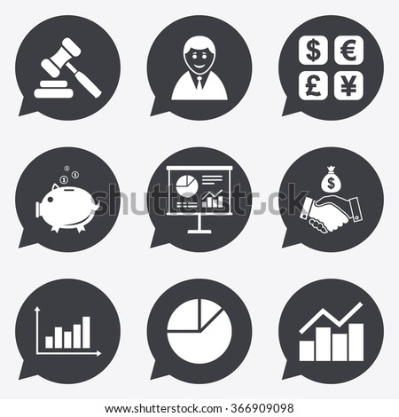 Money, cash and finance icons. Handshake, piggy bank and currency exchange signs. Chart, auction and businessman symbols. Flat icons in speech bubble pointers. - stock photo