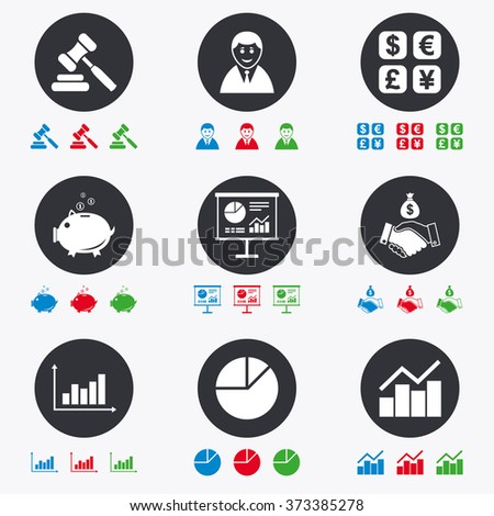 Money, cash and finance icons. Handshake, piggy bank and currency exchange signs. Chart, auction and businessman symbols. Flat circle buttons with icons. - stock photo