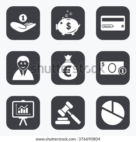 Money, cash and finance icons. Piggy bank, credit card and auction signs. Presentation, pie chart and businessman symbols. Flat square buttons with rounded corners. - stock photo