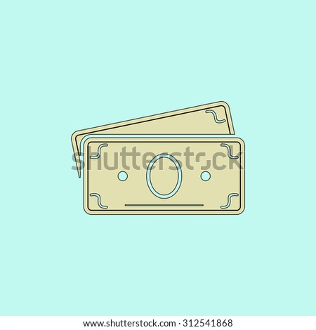 Money Cash. Flat simple line icon. Retro color modern illustration pictogram. Collection concept symbol for infographic project and logo - stock photo
