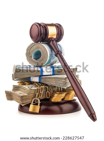 money chain  and judge gavel isolated on white