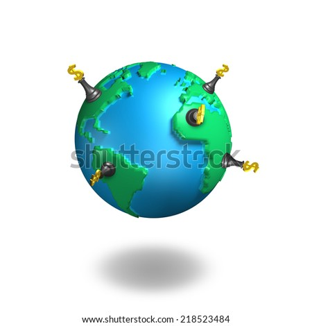money chess stand on 3d map globe isolated on white - stock photo