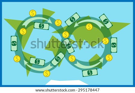 Money circulating all over the world. Trade, macroeconomics, globalization, banking, industry, global financial system concept