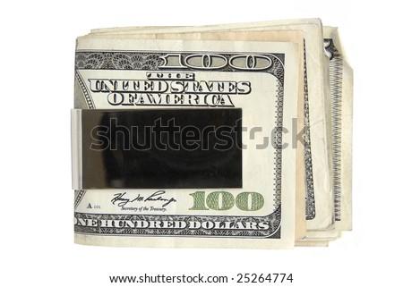 Money Clip Holding one hundred dollar bills. - stock photo