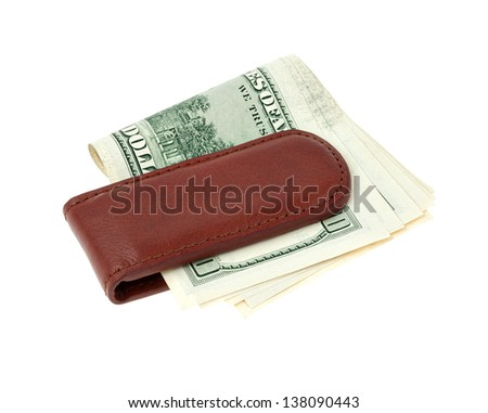 Money clip with dollar bills