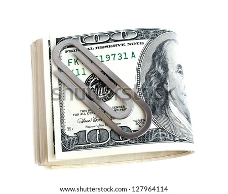 Money clip with dollars on a white background - stock photo